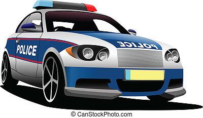 Police car. Municipal transport. Vector illustration.