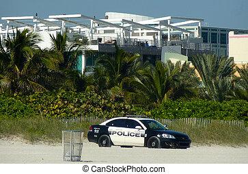 Police car on Miami beach