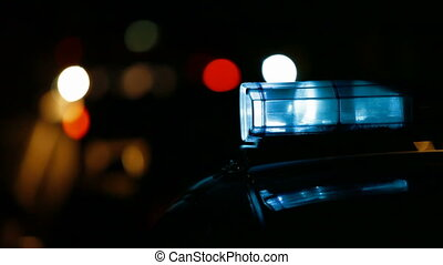 Police Car on Night City Road - Police Car Siren on the...