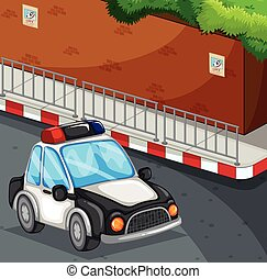 Police car on the road