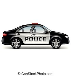 Police car profile isolated on white vector illustration