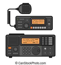 Police Car Radio Transceiver Set. Vector illustration