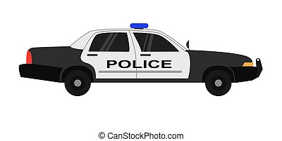 Police car realistic vector illustration isolated on white background.