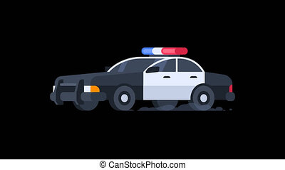 Police Car Rides with Flashing Lights On. Transparent Background.