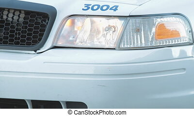 Police Car - The Emergency Flashing Headlights Of A North...