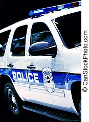 Police Car SUV Partial - Police Cruiser on Black Background....