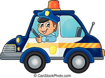 Police car theme image 1 - eps10 vector illustration.