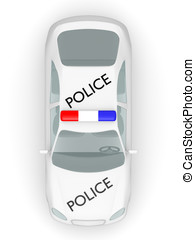 Police car top view - Top view of a police car. 3d...