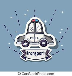 police car transport element patches design