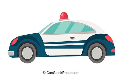 Police car vector cartoon illustration.