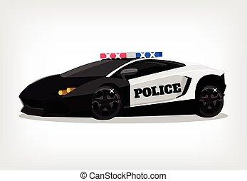 Police car vector flat illustration