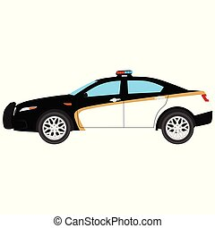 Police car vector icon isolated, security, patrol cop