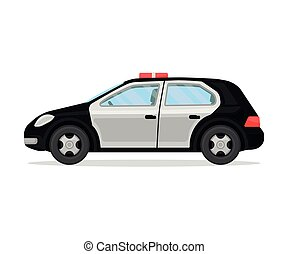 Police car. Vector illustration on a white background.