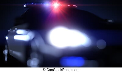 Police car, with flashing lights. Depth of field effect