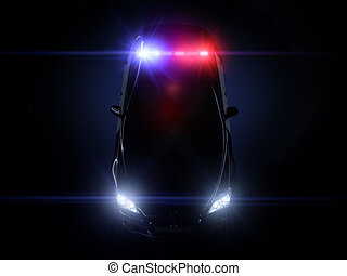 Police car, with full array of lights