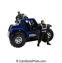 Police car with soldiers