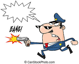 police, caractère, officier, dessin animé