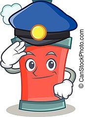 police, caractère, pulvérisation, boîte aérosol, dessin animé