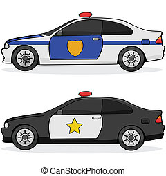 Police cars - Illustratin of two different police cars with...