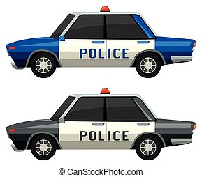 Police cars in two different colors