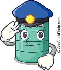 Police cartoon big industrial water tank container vector...