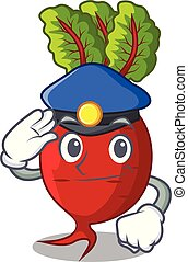 Police cartoon fresh harvested beetroots in wooden crate