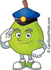 Police cartoon guava mascot on white background