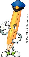 Police cartoon pencil in the cute character