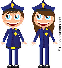 police cartoons - men and woman police with hat cartoons...