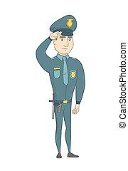 police, caucasien, saluting., officier, jeune