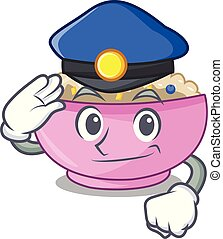 Police character a bowl of oatmeal porridge