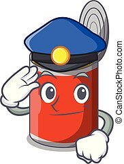 Police character canned food isolated on cartoon vector...