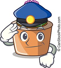 Police character cartoon flower of star cactus