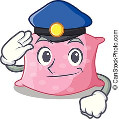 Police character cute pillows on the mattress