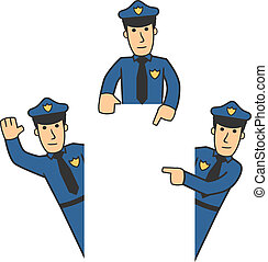 Police character set 06 - set of policeman in different...