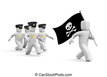Police chase for piracy - Internet metaphor. Isolated on...