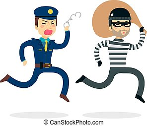 Young police man running chasing thief escaping with stolen bag