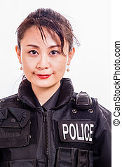 police, chinois, femme, officier