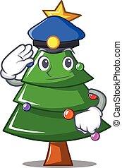 Police Christmas tree character cartoon