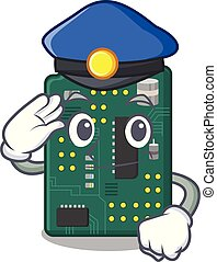 Police circuit board pcb isolated with mascot vector...