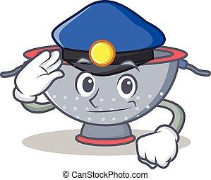Police colander utensil character cartoon