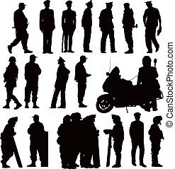 Police collection - Twenty policeman black silhouettes. ...
