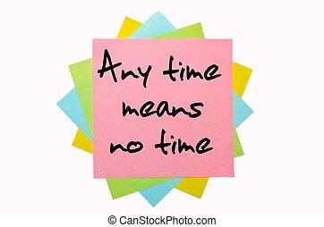 """police, coloré, non, texte, notes, moyens, """"any, collant, écrit, temps, main, time"""", tas"""