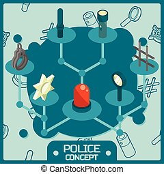 Police color isometric concept icons. Vector illustration...