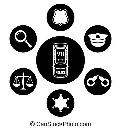Police concept with car and accessories icons