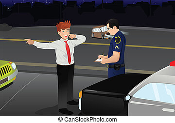 A vector illustration of police conducting a DUI test for a drunk driver