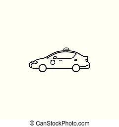 police, contour, griffonnage, main, voiture, dessiné, icon.