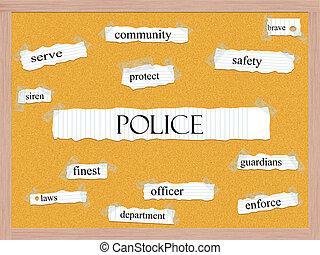 Police Corkboard Word Concept