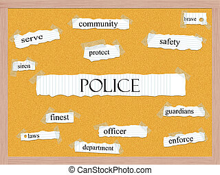 Police Corkboard Word Concept