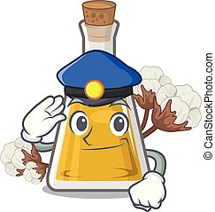Police cottonseed oil in a mascot bottle vector illustration